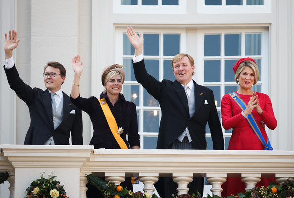 Dutch King Willem-Alexander (2nd R), Queen Maxima (R), Prince Constantijn (L) and Princess Laurentien (2nd L) of wave from the Noordeinde palace balcony on September 16, 2014 in The Hague, Netherlands. The Dutch King officially opened the parliamentary year by reading a speech outlining the government plans for the year ahead.