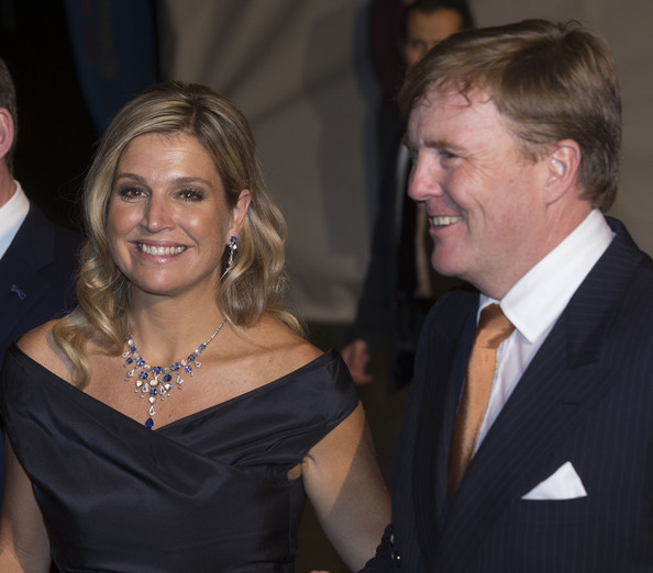 Queen Maxima of The Netherlands and King Willem-Alexander of The Netherlands leave the Circus Theatre after celebrations marking the 200th anniversary of the Kingdom of The Netherlands  on November 30, 2013 in The Hague, Netherlands.