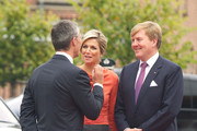 King Willem-Alexander and Queen Maxima of The Netherlands (R) arrive for a meeting at the Prime Minister's office during their official visit to Oslo on October 2, 2013 in Oslo, Norway.