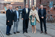 (L-R) Prime Minister of German State of Saxony Stanislaw Tillich, Spinlab CEO Eric Weber, King Willem-Alexander And Queen Maxima Of The Netherlands, Alte Spinnerei CEO Bertram Schultzepose for a photo in front of the Spinlab - a former cotton spinning mill now home to a startup accelerator, where young entrepreneurs collaborate with cultural institutions on February 9, 2017 in Leipzig, Germany. The royal couple will pay a working visiting from February 7 to 10 to the German Bundeslaender Thuringia, Saxony and Saxony-Anhalt in order to deepen trade and investment relations and promote cooperation in high-tech systems, chemicals and flood protection sectors.
