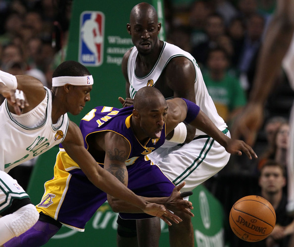 Rajon Rondo and Kobe Bryant - NBA Finals Game 3: Los Angeles Lakers v Boston