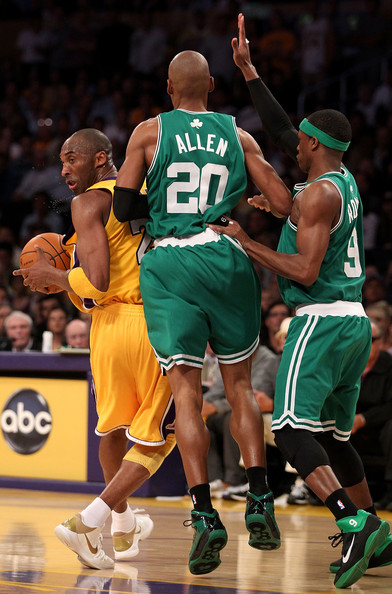 Rajon Rondo and Kobe Bryant - NBA Finals Game 6: Boston Celtics v Los