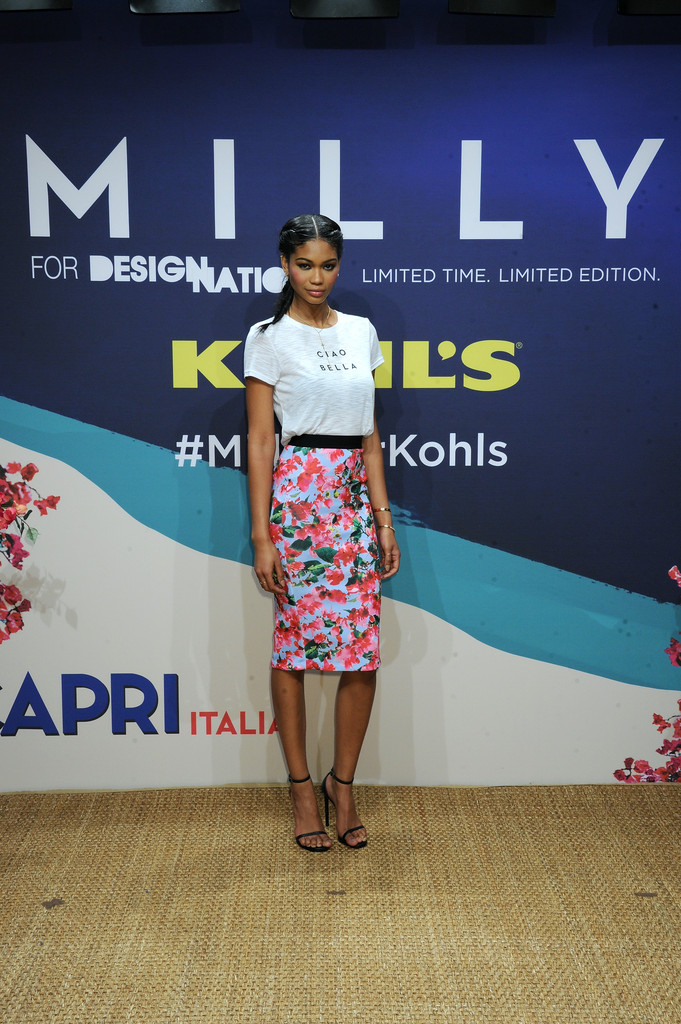 Milly for DesigNation Slubbed Graphic Tee, $40; Floral Midi Scuba Skirt, $50, at Kohl's