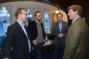 "(L-R). Film directors  Espen Sandberg, Joachim Ronning, journalist Lawrence O'Donnell, and explorer Richard Wiese attend the ""Kon-Tiki"" Celebration Luncheon at Explorers Club on April 5, 2013 in New York City."