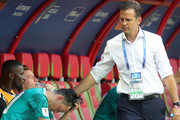 Team manager of Germany Oliver Bierhoff consoles Mesut Oezil following the 2018 FIFA World Cup Russia group F match between Korea Republic and Germany at Kazan Arena on June 27, 2018 in Kazan, Russia.