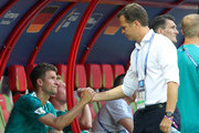 Team manager of Germany Oliver Bierhoff consoles Thomas Mueller following the 2018 FIFA World Cup Russia group F match between Korea Republic and Germany at Kazan Arena on June 27, 2018 in Kazan, Russia.