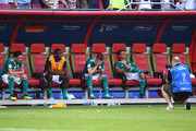 Germany players look dejected following their sides defeat in the 2018 FIFA World Cup Russia group F match between Korea Republic and Germany at Kazan Arena on June 27, 2018 in Kazan, Russia.