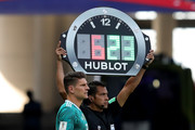 Mario Gomez of Germany prepares to be substituted on during the 2018 FIFA World Cup Russia group F match between Korea Republic and Germany at Kazan Arena on June 27, 2018 in Kazan, Russia.