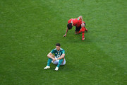 Mario Gomez of Germany looks dejected following his sides defeat in the 2018 FIFA World Cup Russia group F match between Korea Republic and Germany at Kazan Arena on June 27, 2018 in Kazan, Russia.