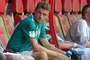 Thomas Mueller of Germany sits on the bench dejected following the 2018 FIFA World Cup Russia group F match between Korea Republic and Germany at Kazan Arena on June 27, 2018 in Kazan, Russia.