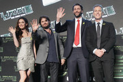 (from left) Actress Megan Fox, Director Jonathan Liebesman, Producer Andrew Form and Producer Brad Fuller attend the Premiere of Paramount Pictures' 'TEENAGE MUTANT NINJA TURTLES' at CGV Yeoido, on August 26, 2014 in Seoul, South Korea.