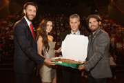 (from left) Producer Andrew Form, Producer Brad Fuller, Actress Megan Fox, and Director Jonathan Liebesman attend the Premiere of Paramount Pictures' 'TEENAGE MUTANT NINJA TURTLES' at CGV Yeoido, on August 26, 2014 in Seoul, South Korea.