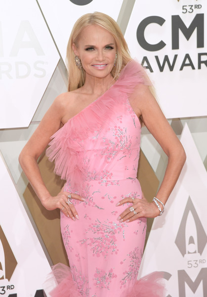 The 53rd Annual CMA Awards - Arrivals [hair,clothing,shoulder,dress,pink,hairstyle,blond,beauty,long hair,joint,arrivals,kristin chenoweth,cma awards,nashville,tennessee,music city center]