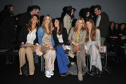 (L-R)Alessandra Grillo, Elena Santarelli,  Valentina Scambia, Federica Fontana and Virginia Galateri attend the Kristina T Show during Milan Fashion Week Womenswear Autumn/Winter 2014 on February 20, 2014 in Milan, Italy.
