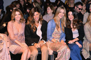 (L-R)  Elena Barolo, Alessandra Grillo, Elena Santarelli and Valentina Scambia attend the Kristina T Show during Milan Fashion Week Womenswear Autumn/Winter 2014 on February 20, 2014 in Milan, Italy.