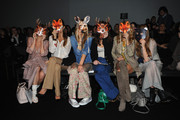 (L-R)  Elena Barolo, Alessandra Grillo, Elena Santarelli,  Valentina Scambia and Virginia Galateri attend the Kristina T Show during Milan Fashion Week Womenswear Autumn/Winter 2014 on February 20, 2014 in Milan, Italy.