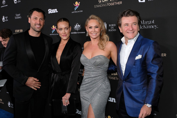G'Day USA 2020 - Arrivals [premiere,event,little black dress,fashion,dress,carpet,suit,performance,arrivals,maksim chmerkovskiy,robert herjavec,peta murgatroyd,kym johnson,l-r,usa,beverly wilshire,california,gday usa 2020,kym johnson,peta murgatroyd,maksim chmerkovskiy,robert herjavec,dancing with the stars,celebrity,photograph,dancer,getty images]