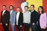 """James Lee Hernandez, Brian Lazarte, Archie Gips, Mark Wahlberg, Casey Bloys and Nancy Abraham attend the LA Premiere Of HBO's """"McMillion$"""" at the Landmark Theater on January 30, 2020 in Los Angeles, California."""