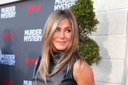 "Jennifer Aniston attends the LA premiere of Netflix's ""Murder Mystery"" at Regency Village Theatre on June 10, 2019 in Westwood, California."