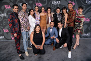 "(L-R) (back row) Adrian Gonzalez, Carlos Miranda, Chelsea Rendon, Melissa Barrera, Mishel Prada, Roberta Colindrez, Ser Anzoategui, Anna LaMadrid, Tonatiuh, Erika Soto, (front row) Elizabeth De Razzo, Luis Bordonada, and Raul Castillo attend the LA premiere of Starz' ""VIDA"" at Regal Downtown Theater on May 20, 2019 in Los Angeles, California."