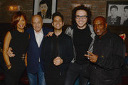 (L-R) Epic Records President Sylvia Rhone, Sony Music Entertainment chairman and CEO Doug Morris, music recording artists Chad Vaccarino and Ian Axel of Great Big World and Epic Records chairman and CEO LA Reid attend the LA Reid and Epic Grammy Celebration presented By Luc Belaire at Craig's Restaurant on February 6, 2015 in West Hollywood, California.
