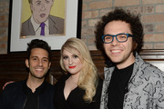 (L-R)  Music recording artist Chad Vaccarino of A Great Big World, music recording artist Meghan Trainor and music recording artist Ian Axel of A Great Big World attend the LA Reid and Epic Grammy Celebration presented By Luc Belaire at Craig's Restaurant on February 6, 2015 in West Hollywood, California.