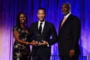 (L-R) NAACP LDF president and director-counsel Sherrilyn Ifill, musician John Legend and LDF board chair Gerald Adolph on stage during the the LDF 31th National Equal Justice Awards Dinner at Cipriani 42nd Street on November 2, 2017 in New York City.
