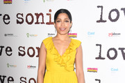 "Freida Pinto attends the UK Premiere of ""LOVE SONIA"" at Curzon Bloomsbury on January 23, 2019 in London, England."