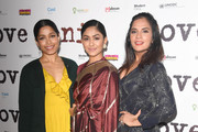 "Freida Pinto, Mrunal Thakur and Richa Chadha attend the UK Premiere of ""LOVE SONIA"" at Curzon Bloomsbury on January 23, 2019 in London, England."