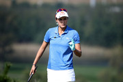 Lexi Thompson of United States reacts after a putt on the 6th hole during the final round of the LPGA KEB Hana Bank Championship at Sky 72 Golf Club on October 14, 2018 in Incheon, South Korea.