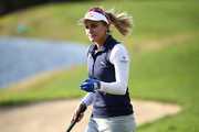 Lexi Thompson of United States reacts after a putt on the 18th green during the first round of the LPGA KEB Hana Bank Championship at Sky 72 Golf Club on October 11, 2018 in Incheon, South Korea.
