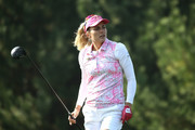 Lexi Thompson of United States reacts after a tee shot on the 2nd hole during the third round of the LPGA KEB Hana Bank Championship at Sky 72 Golf Club on October 13, 2018 in Incheon, South Korea.