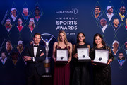 The new members of the Laureus World Sports Academy, Missy Franklin (2L-R), Luciana Aymar, Lorena Ochoa received the new Aquatimer Chronograph Edition Laureus Sport for Good from IWC CEO Christoph Grainger-Herr (L) which was launched on the occasion of the Laureus World Sport Awards on February 18, 2019 in Monte Carlo, Monaco.