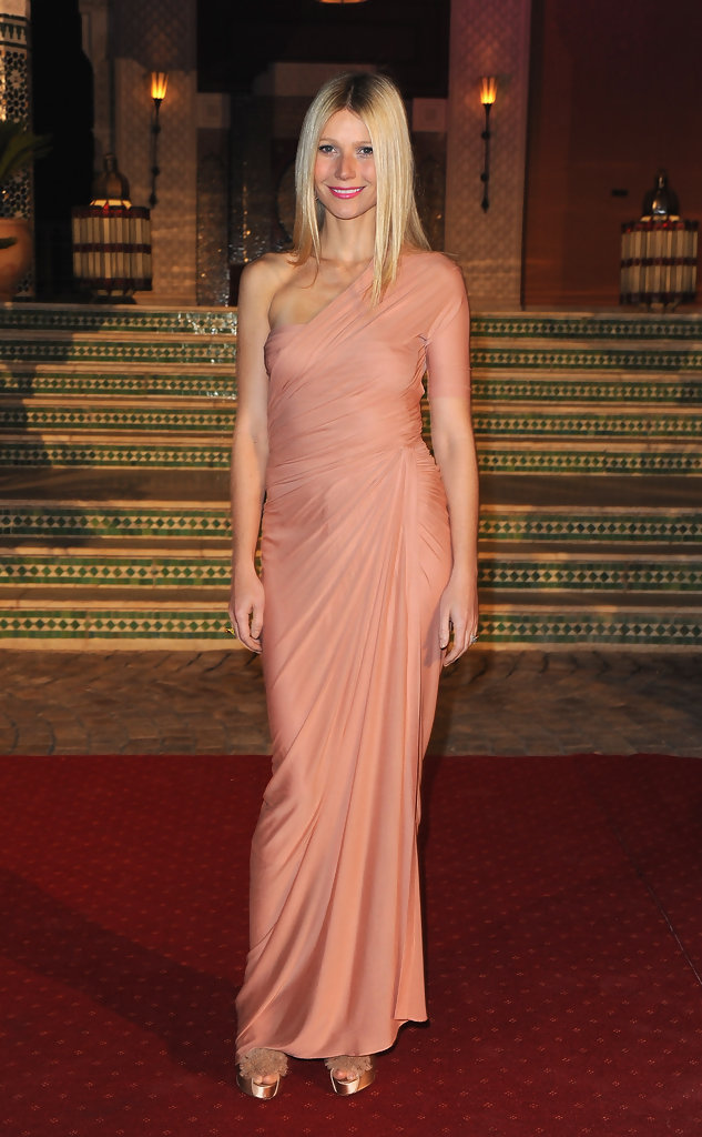 Gwyneth Paltrow in a peach Donna Karan gown