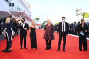 """(L-R) Venezia77 Jury President Cate Blanchett, Venezia77 Jury Members Matt Dillon, Ludivine Sagnier, Veronika Franz, Christian Petzold and Joanna Hogg walk the red carpet ahead of the Opening Ceremony and the """"Lacci"""" red carpet during the 77th Venice Film Festival at  on September 02, 2020 in Venice, Italy."""
