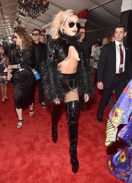 The 59th GRAMMY Awards -  Red Carpet [red carpet,footwear,flooring,fashion model,fashion,carpet,fashion accessory,leg,tights,joint,red carpet,lady gaga,grammy awards,staples center,los angeles,california,the 59th grammy awards]