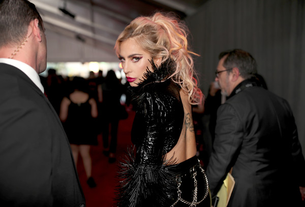 The 59th GRAMMY Awards -  Red Carpet [red carpet,fashion,lady,event,premiere,suit,fun,carpet,dress,flooring,formal wear,lady gaga,grammy awards,staples center,los angeles,california,the 59th grammy awards]