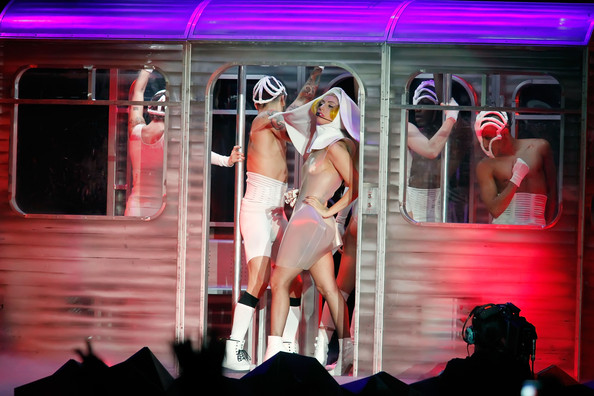 Lady Gaga (EDITORIAL USE ONLY) Lady Gaga performs at Boardwalk Hall Arena on February 19, 2011 in Atlantic City, New Jersey.
