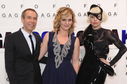"""(L-R) Jeff Koons, his wife wife Justine Shankbone and  Lady Gaga attend the event  to present Gaga's """"artRave"""" at Brooklyn Navy Yard on November 10, 2013 in the Brooklyn borough of New York City."""