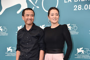 "Director Lou Ye and Gong Li attends ""Lan Xin Da Ju Yuan"" (Saturday Fiction) photocall during the 76th Venice Film Festival on September 04, 2019 in Venice, Italy."
