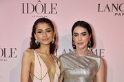 (R-L) Brittany Xavier and Zendaya, the face of the Lancôme Idôle fragrance, attend the launch at Palais D'Iena on July 02, 2019 in Paris, France.