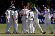 Dominic Cork of Hampshire celebrates with team mates after taking the wicket of Paul Horton of Lancashire during the LV County Championship match between Lancashire and Hampshire at Liverpool Cricket Club on August 31, 2010 in Liverpool, England.