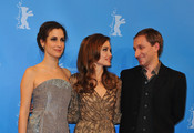 """(L-R) Actress Zana Marjanovic, director Angelina Jolie and actor Goran Kostic attend the """"In The Land Of Blood And Honey"""" Premiere during day three of the 62nd Berlin International Film Festival at the Haus der Berliner Festspiele on February 11, 2012 in Berlin, Germany."""