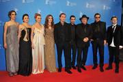 """(L-R) Actress Zana Marjanovic, actress Vanesa Glodjo, actress Alma Tezic, director Angelina Jolie, actor Goran Kostic, actor Boris Ler, actor Rade Srbedzija and actor Branko Djuric attend the """"In The Land Of Blood And Honey"""" Premiere during day three of the 62nd Berlin International Film Festival at the Haus der Berliner Festspiele on February 11, 2012 in Berlin, Germany."""