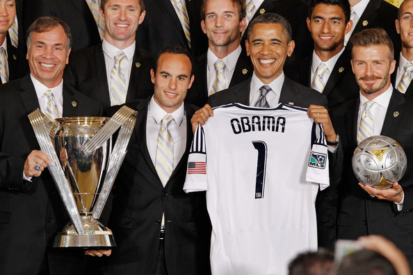 Obama Welcomes MLS Champions LA Galaxy To The White House [photographs,award,trophy,event,award ceremony,barack obama,champions,bruce arena,michelle obama,r,the white house,u.s.,la galaxy,mls]