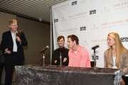 (L-R) Bill Mountford, Jamie Murray, Andy Murray, and Katie Swan speak during a Q&A as The Langham, New York, Fifth Avenue celebrates U.S. Open Tennis with Andy Murray and SPiN Studios on August 25, 2018 in New York City.