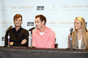(L-R) Jamie Murray, Andy Murray, and Katie Swan speak during a Q&A as The Langham, New York, Fifth Avenue celebrates U.S. Open Tennis with Andy Murray and SPiN Studios on August 25, 2018 in New York City.