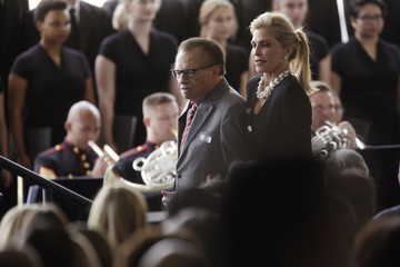 Larry King Funeral Held for Nancy Reagan at Reagan Presidential Library