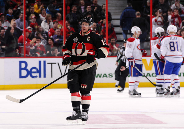 Lars Eller Daniel Alfredsson #11 of the Ottawa Senators skates away dejected while P.K. Subban #76 of the Montreal Canadiens celebrates his goal with teammates Josh Gorges #26 and Lars Eller #81 during a game at Scotiabank Place on December 27, 2011 in Ottawa, Canada.