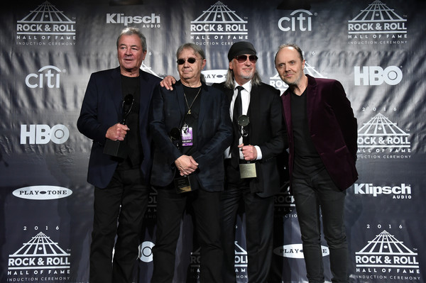 31st Annual Rock and Roll Hall of Fame Induction Ceremony - Press Room [rock and roll hall of fame induction ceremony - press room,event,lars ulrich,ian paice,ian gillan,roger glover,stage,l-r,press room,deep purple,metallica]